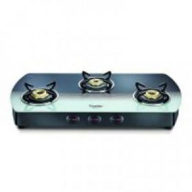 Prestige Premia GT 03 SS Glass, Stainless Steel Manual Gas Stove  (3 Burners)