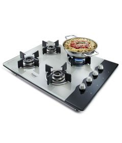 Prestige Hob Glass Top 4 Burner Auto Ignition Gas Stove (Black and White)