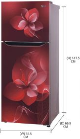 LG 260 L 2 Star Inverter Frost-Free Double Door Refrigerator (GL-S292DSDY, Scarlet Dazzle, Convertible)