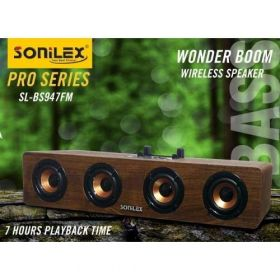 Sonilex Bluetooth Speaker with Mobile Stand Sound bar 947, re.and Answer Calls,tf Card Slot, fm,Chargeable Color (Wood)