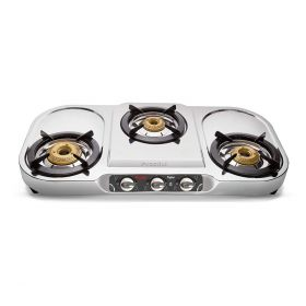 Preethi Topaz Stainless Steel 3-Burner Gas Stove